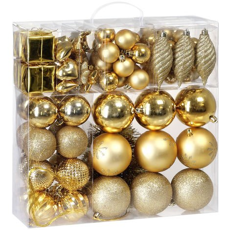 B-Stock Christmas Tree Baubles 54 Pieces Set Christmas Tree Balls Indoor Outdoor