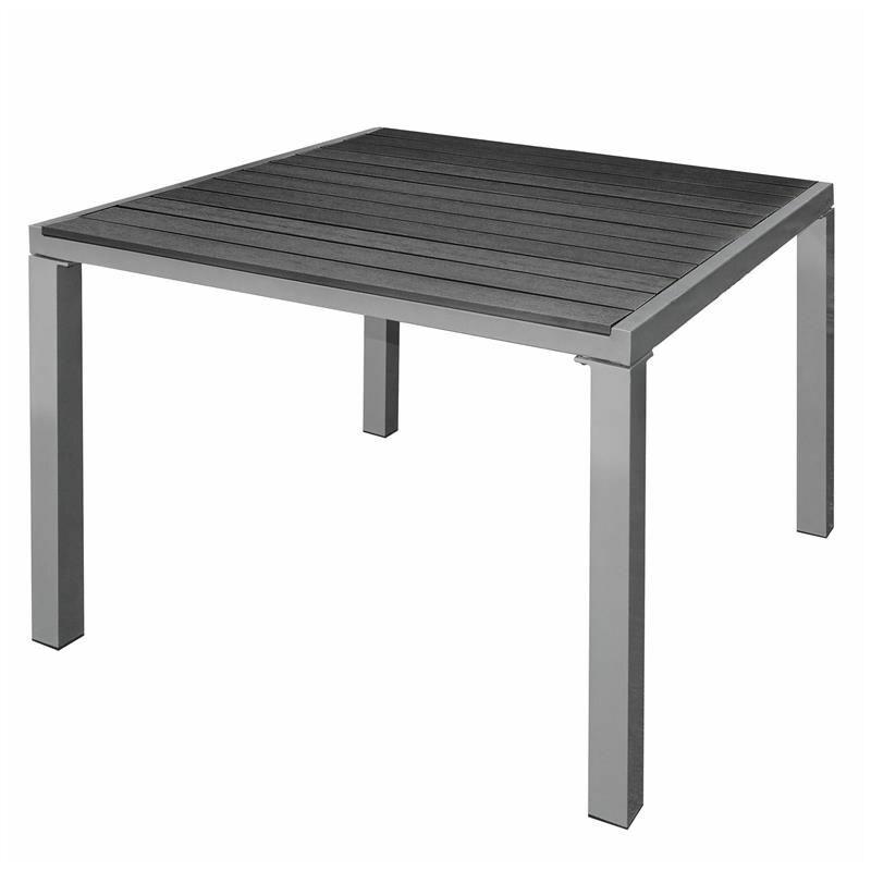WPC Gartentisch Terrassentisch Balkontisch ALU Esstisch Tisch Holz Optik Schwarz / 90x90x72cm - ESTEXO