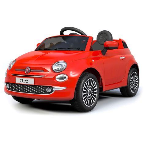 B90106 Coche eléctrico para niños FIAT 500 cabrio asiento cuero 12V Teledirigido   Rojo