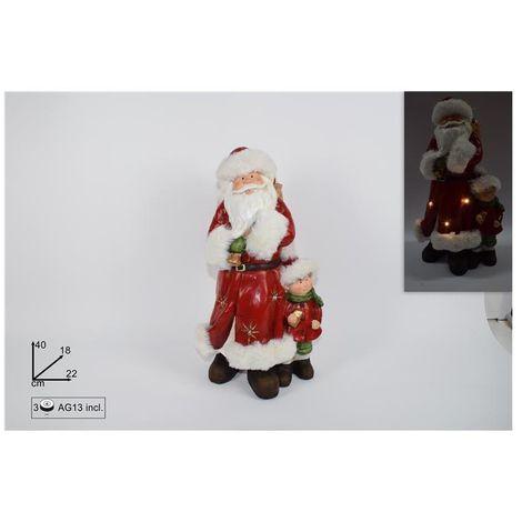 Babbo Natale 40 Cm.Babbo Natale Con Bambino 40 Cm Rosso