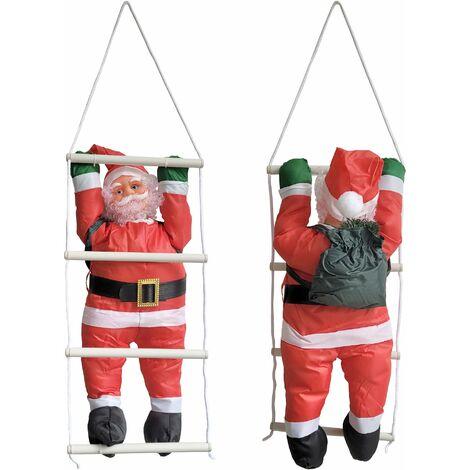 Babbo Natale 90 Cm.Babbo Natale Sulla Scala Decorazione Natalizia Personaggio Natalizio Santa Claus Per Esterno Interno