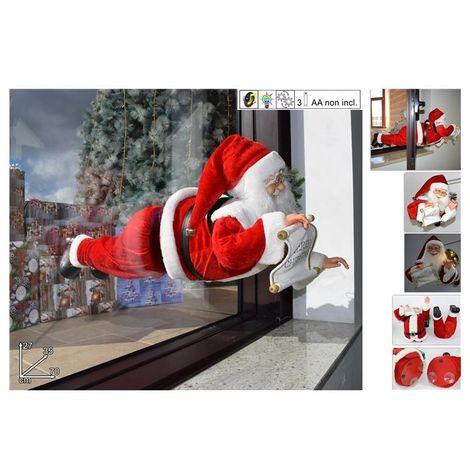 Immagini Natale Movimento.Babbo Natale Volante Con Movimento Luci E Suono Cm 70