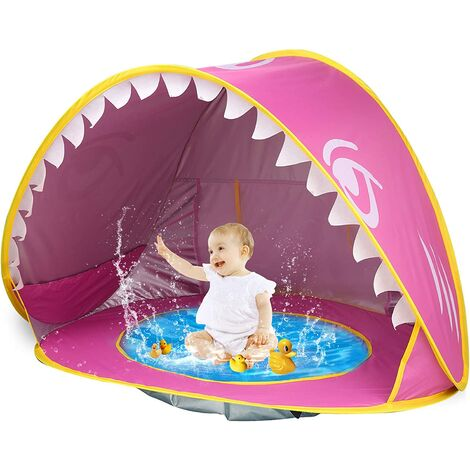 """main image of """"Baby Beach Tent Pop Up Shark Baby Pool Tent with Portable Sun Shelter Tent UPF 50+ UV Protection & Waterproof Sun Tent Beach Shade Baby Beach Pool Toys for Toddler Infant Aged 3-48 Months"""""""