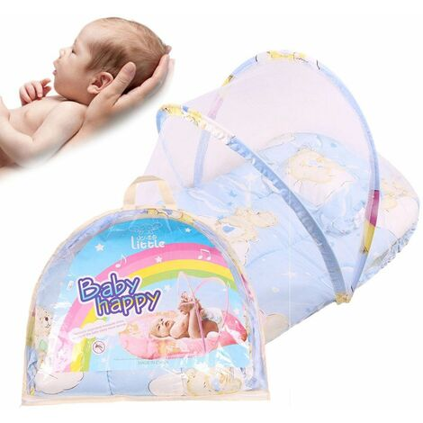 Baby Bed Portable Foldable Travel Bed Cradle Bed for 0–2 Years Baby Canopy Mosquito Net Tent with Pillowcase