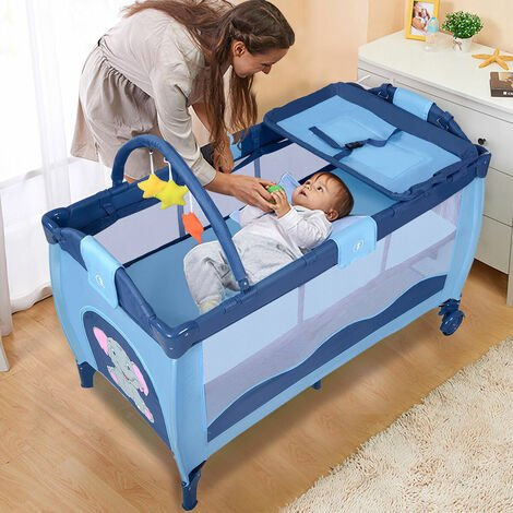 Baby Crib Foldable Playpen Portable Infant Travel Bassinet Bed Cot Bed Blue