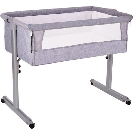 Baby Crib with Gray Mosquito Net Hood