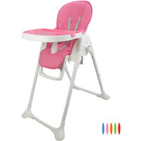 Baby Foldable Chair, Baby High Chair, Pink, Deployed size: 105 x 89 x 56 cm (41.3 x 35 x 22 inch)