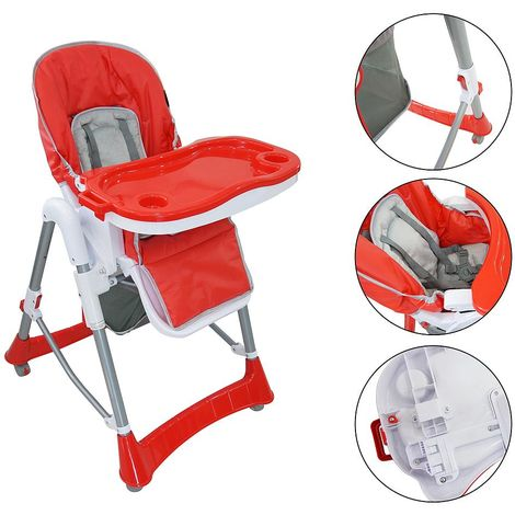 Baby Foldable Chair, Baby High Chair, Red, Deployed size: 105 x 75 x 60 cm