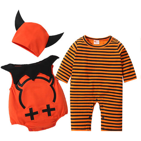 """main image of """"Baby Halloween Costumes Boy Devil Wings 3 PCS Clothes Set Long Sleeved Jumpsuit Demon Vest and Hat Halloween Pumpkin Outfit for Baby Boys Girls Toddlers 3-18 Months"""""""