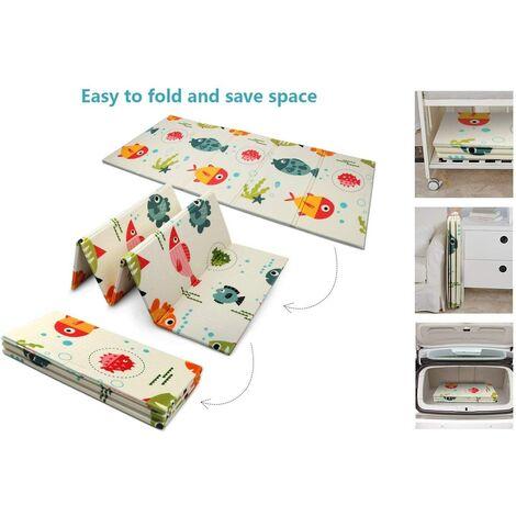 Baby Play Mat, Large Foam Crawling Playmat, Extra Thick Folding Reversible Waterproof Portable Floor Mat 180*200*1CM