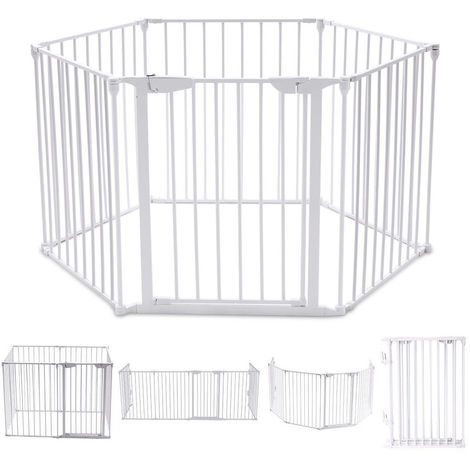 Baby Play Pen Pet Fence Playpen Foldable Room Divider Play Yard Barrier 6 Panel White