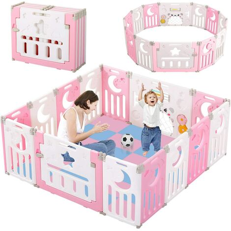 Baby Playpen, Foldable Kids Activity Center Safety Play Yard Home Indoor Outdoor Baby Fence Play Pen with Gate for Baby Boys Girls (14-Panel, Pink+White)