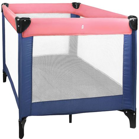 Baby Playpen, Travel Cot, CE standard, 93 x 93 x 76 cm (36.6 x 36.6 x 29.9 inch), Pink/Blue, Maximum load: 55 lbs