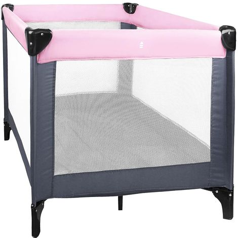 Baby Playpen, Travel Cot, CE standard, 93 x 93 x 76 cm (36.6 x 36.6 x 29.9 inch), Pink/Dark grey, Maximum load: 55 lbs