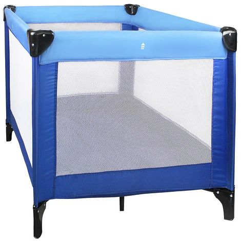 Baby Playpen, Travel Cot, CE standard, 93 x 93 x 76 cm (36.6 x 36.6 x 29.9 inch), Sky blue/Marine Blue, Maximum load: 55 lbs