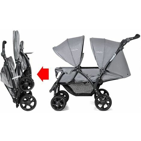 Baby Pram Double Seat Safety Belt Adjustable Backrest Buggy Pushchair Stroller