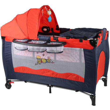 Baby Red Portable Folding Play Bed