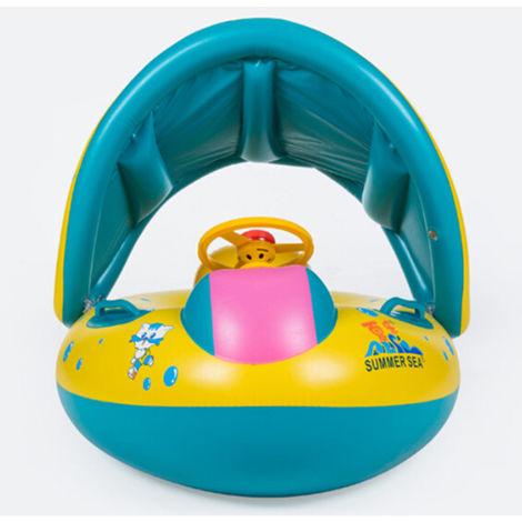 Baby Schwimmhilfen Schwimmen Ring mit Sonnendach 0-3 Jahre Aufblasbar Kinderboot