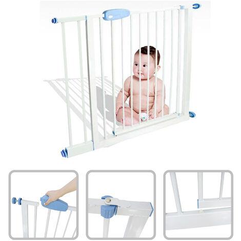 Baby-Sicherheitsgitter, Verstellbares Türgitter, Erweiterung von 88 zu 101 cm, Weiß, Breite: 74-87 cm