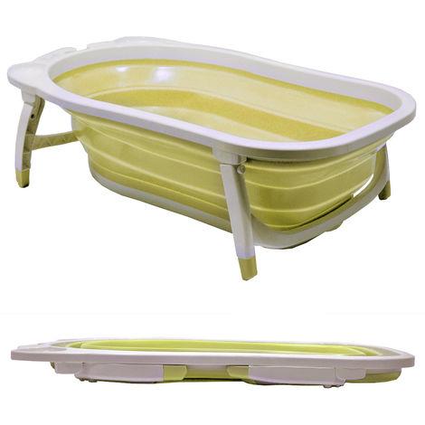 BABY - Splashy Plastic Folding Fold Away Baby Bath - White / Lemon