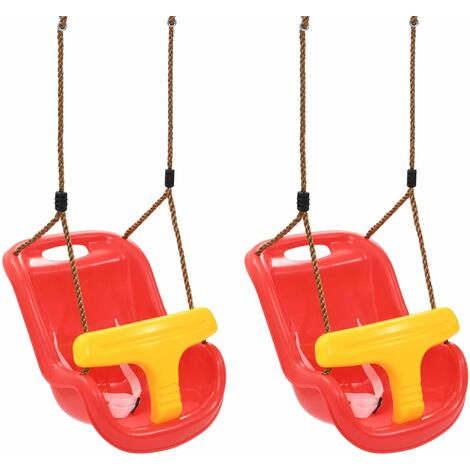 Baby Swings 2 pcs with Safety Belt PP Red