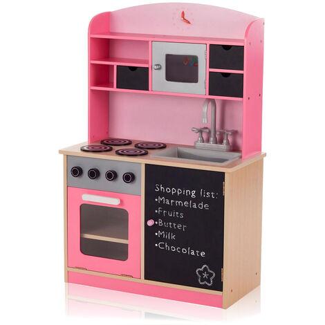 Baby Vivo Kinderküche Spielküche aus Holz mit Tafel - Mila in Rosa