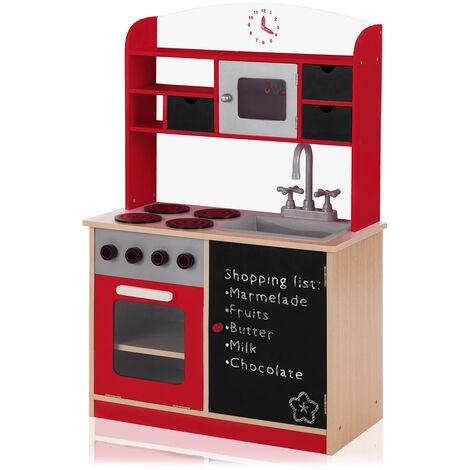 Baby Vivo Kinderküche Spielküche aus Holz mit Tafel - Mila in Rot