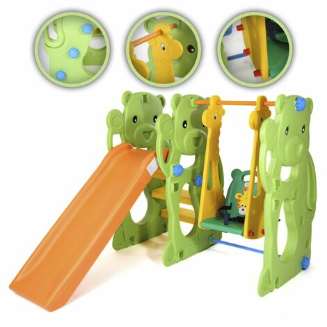 Baby Vivo Toboggan Aire de jeux Balançoire pour Enfants Extérieur et à l'Intérieur - Jungle