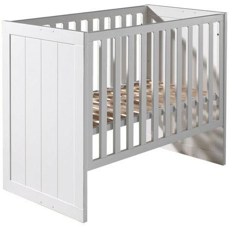 Babybett Akira Vipack inklusive 3-fach höhenverstellbarer Lattenrost aus MDF Holz weiß in 90*200 cm