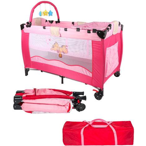 Babybett Kinder Baby Reisebett Kinderreisebett Kinderbett Klappbett Laufstall[Rosa]