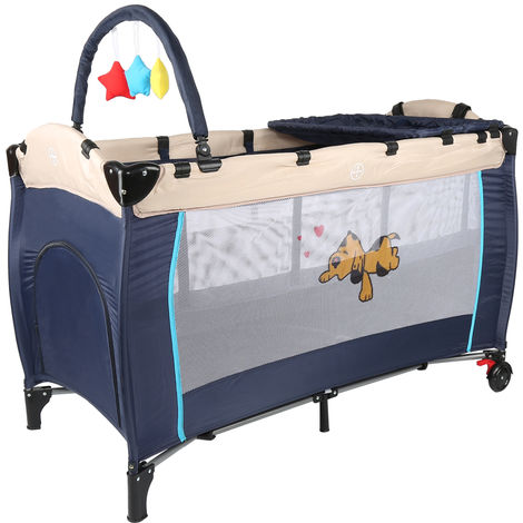Babybett Kinderreisebett Baby Reisebett Kinderbett Klappbett Laufstall Blau 128x65x83 cm