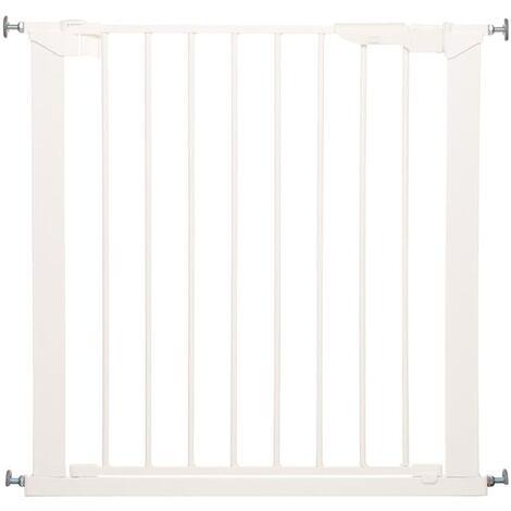 72-107l x 76H cm sans per/çage m/étal Plastique Blanc Pawhut Barri/ère de s/écurit/é Longueur r/églable dim
