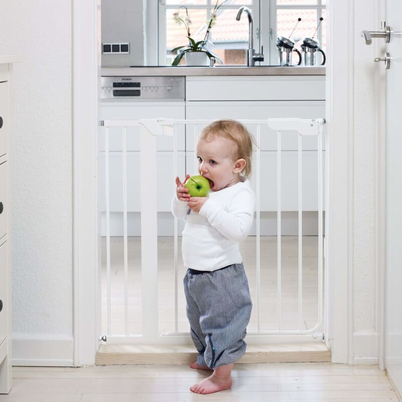 Image of Safety Gate Danamic with 2 Extensions 73-93.5 cm White - White - Babydan