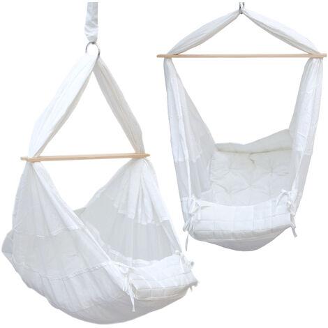 Babyhängematte Baby-Feder-Wiege mit Spreizstab | 100% Baumwolle Naturstoff | Kinderhängematte Hängewiege | Babyschaukel in Weiß | Balstbarkeit max. 15KG