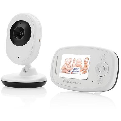 Babyphone vidéo Babycam blanc 2,4 pouces LCD 2.4GHz surveillance sans fil caméra bébé moniteur avec 7-IR LED Night Vision, Talk