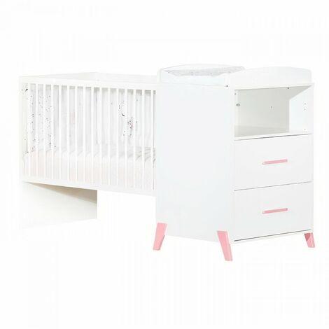 Babyprice - JOY ROSE - Lit Combiné Evolutif 120x60 en 90x190