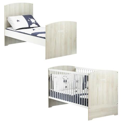 BABYPRICE Lit Bebe Evolutif Little Big Bed Smile Hetre Cendre 140x70 cm