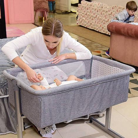 Babywiege Reisebett Schaukelwiege mit Transporttasche und Matratze faltbar klappbar tragbar grau
