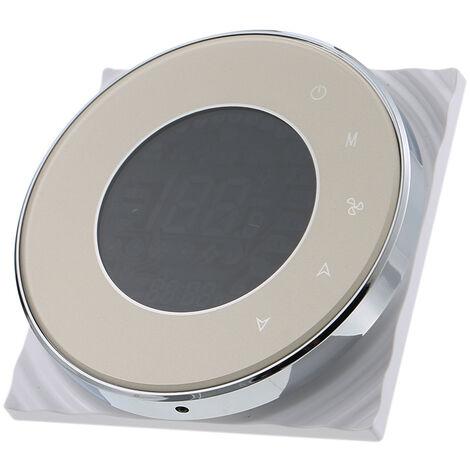 BAC-5000-2 Thermostat a ecran tactile circulaire de climatisation centrale a quatre tuyaux, panneau de commutation, controleur de pipeline de plateau de ventilateur, champagne