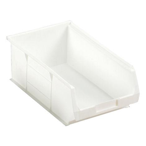Bac à bec Blanc Plastique, 130mm x 205mm x 350mm empilable