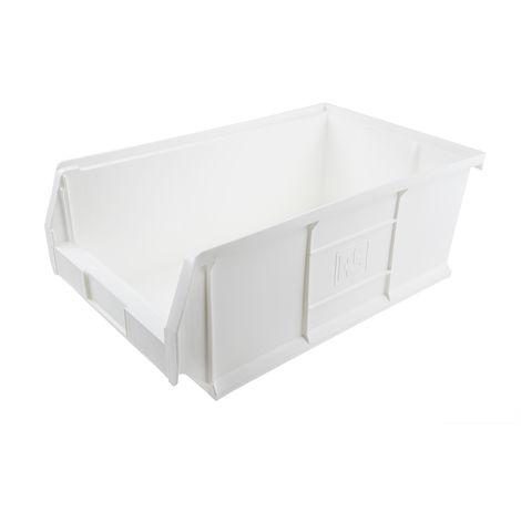 Bac à bec Blanc Plastique, 200mm x 315mm x 510mm empilable