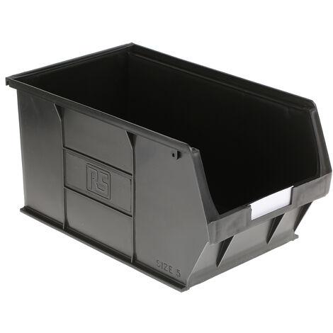Bac à bec Noir Plastique, 182mm x 205mm x 350mm empilable