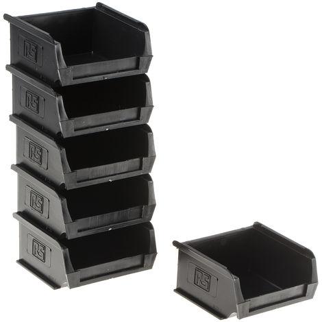 Bac à bec Noir Plastique, 50mm x 100mm x 90mm empilable