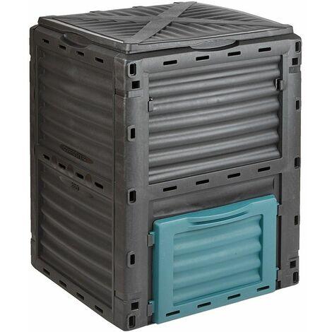 Bac à compost Jardin avec Couvercle Recyclage Déchets alimentaires, Maison 300L - Noir