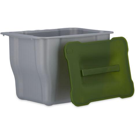 Bac à déchets de cuisine épluchures légumes HxlxP: 17,5 x 24,7 x 18,5 cm avec couvercle 5 litres, anthracite