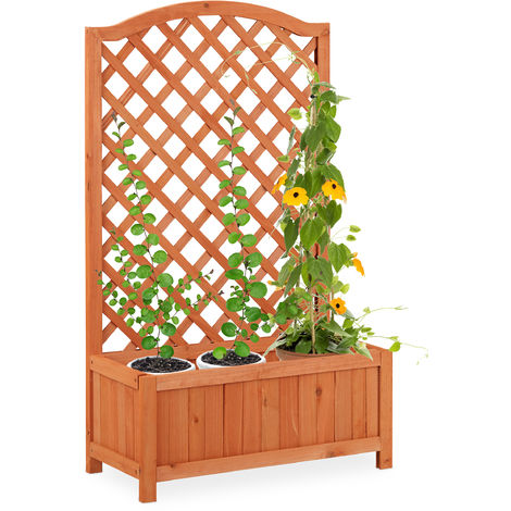 Bac à fleurs avec treillis résistant aux températures, en bois pour balcon, jardin, pour rosiers, vigne,Tuteur