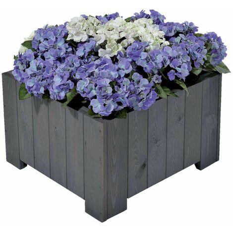 """Bac à fleurs carré """"wels """" 57x57x35 cm (l x L x h) - Gris vintage, surface lisse"""