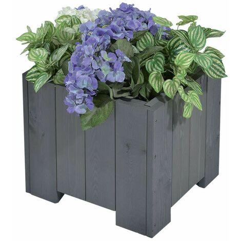 """Bac à fleurs carré""""wels """" 45x45x35 cm (l x L x h) - Gris vintage, surface lisse"""