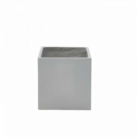 Bac a fleurs en fibre de verre style ciment - 42 x 42 x 40 cm - Gris