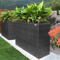 Bac à fleurs en polyrotin 3 compartiments - 83x30,5x60 cm - Design élégant Noir